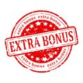 Red stamp extra bonus damaged round with inscription illustration Stock Image