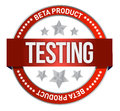 Red stamp that shows the term beta testing Stock Images