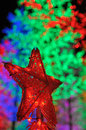 Red star christmas ornament over colorful illuminated christmas trees Stock Photos