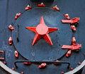 Red star on the old steam train Royalty Free Stock Image