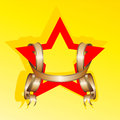 Red star and ribbon vector Royalty Free Stock Photo