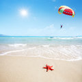 Red starfish on beach and parachute in sky Royalty Free Stock Photo