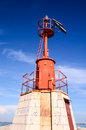 The red steel lighthouse near sottomarina venice Stock Image