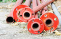 Red steel pipes Royalty Free Stock Images
