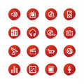 Red sticker media icons Royalty Free Stock Photo