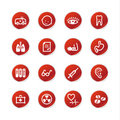 Red sticker medicine icons Stock Photography