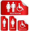 Red sticker restroom sign Royalty Free Stock Photography