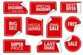 Red stickers curled. Wrapped paper sticker set, price labels sale banners bent edge corner sheets. Advertising badges