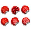 Red stickers from different ethnic pattern and bow Royalty Free Stock Photo