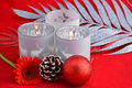 Red still life background with grey, white Christmas decoration Royalty Free Stock Photo