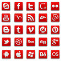 Red stitched social media Icons Royalty Free Stock Photo