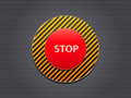 Red Stop Button on Stripe Panel Royalty Free Stock Photo