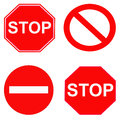Red stop and forbidden signs