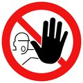 Red stop sign with hand symbol icon vector Royalty Free Stock Photo