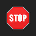 Red Stop Sign Vector Icon. Dan...