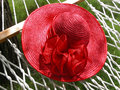 Red Straw Hat & Hammock Royalty Free Stock Images