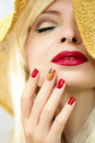 Red straw nail design. Royalty Free Stock Photo