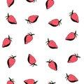 Red Strawberries Seamless Patt...