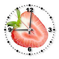 Red strawberry as a office clock Royalty Free Stock Photos