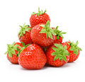 Red strawberry fruits isolated on white Royalty Free Stock Photo