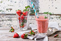 Red strawberry smoothie Royalty Free Stock Photo