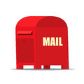 Red Street Mailbox in flat vector style for web or illustration