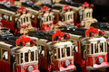 Red streetcars backgrounds and textures group of toys close up shot selective focus Royalty Free Stock Photos