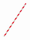 Red striped papaer straw isolated on white Royalty Free Stock Photo