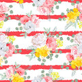 Red striped print with bouquets of rose, peony, narcissus, pink and yellow flowers, eucaliptis leaves Royalty Free Stock Photo