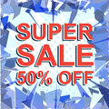 Red striped sale poster with SUPER SALE 50 PERCENT OFF text. Advertising banner