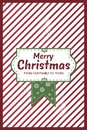 Red stripes and green CHristmas Card