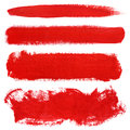 Red strokes of gouache paint brush Royalty Free Stock Photo