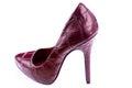 Red stylish leather high heels isolated on white shoes stilettos background Royalty Free Stock Image