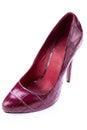 Red stylish leather high heels isolated on white shoes stilettos background Stock Photo