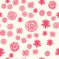 Red Stylized Flowers Naive Style Pattern Royalty Free Stock Photo