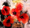 Red stylized poppies on grunge background Royalty Free Stock Photo