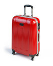 Red suitcase isolated on white Stock Photos