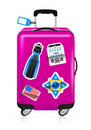 Red suitcase for travel with stickers Stock Images