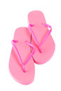 Red summer flip flop shoes isolated on white pink Stock Photo