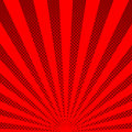 Red sunbeams halftone background. Vector illustration.