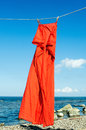 Red sundress hanging on a rope on the seashore Stock Images
