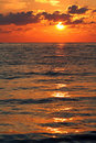 Red sunrise on the black sea Royalty Free Stock Images