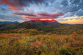 Red Sunrise in the Wasatch Mountains. Royalty Free Stock Photo