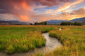 Red sunset in the wasatch mountains rural usa Royalty Free Stock Photo