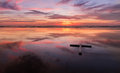 Red Sunset Wet Beach Cross Royalty Free Stock Photo