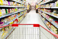 Red supermarket inside the empty shopping cart Royalty Free Stock Photo