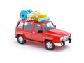 Red suv adventure d with roof rack Royalty Free Stock Images