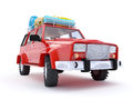 Red suv adventure d with roof rack Stock Photos