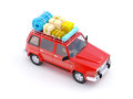 Red suv adventure d with roof rack Stock Image