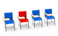 The red table chair d generated picture of a in a row of blue ones Royalty Free Stock Image